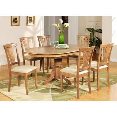 Attamore 7 Piece Dining Set Finish: Oak, Chair Upholstery: Microfiber
