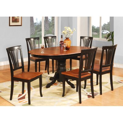 Attamore 7 Piece Dining Set Finish: Black / Saddle Brown, Chair Upholstery: Faux Leather