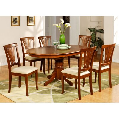 Attamore 7 Piece Dining Set Chair Upholstery: Faux Leather, Finish: Saddle Brown
