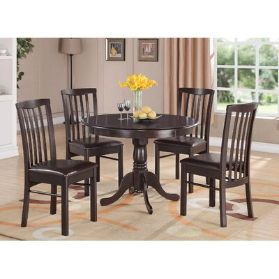 Bonenfant 5 Piece Dining Set Finish: Cappuccino, Chair Upholstery: Faux Leather