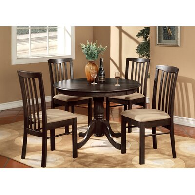 Bonenfant 5 Piece Dining Set Chair Upholstery: Microfiber, Finish: Cappuccino