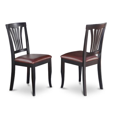 Attamore Side Chair in Faux Leather (Set of 2) Color: Black