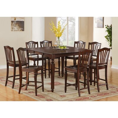 Ashworth 9 Piece Counter Height Pub Table Set Color: Mahogany