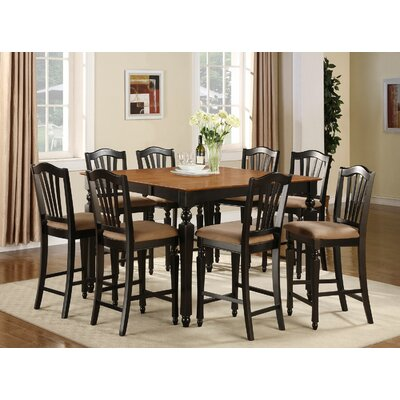 Ashworth 9 Piece Counter Height Pub Table Set Finish: Black / Cherry