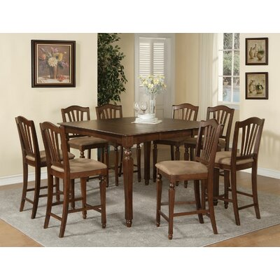 Ashworth 9 Piece Counter Height Pub Table Set Finish: Mahogany