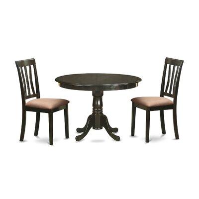 Bonenfant 3 Piece Dining Set Upholstery: Beige Microfiber