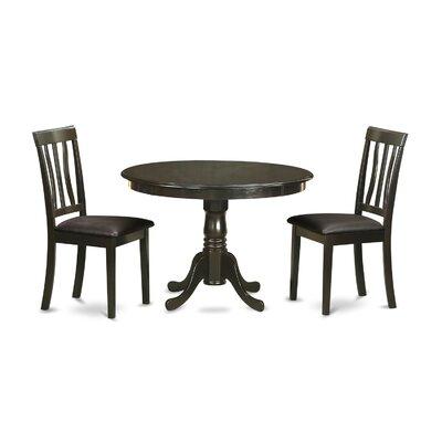 Bonenfant 3 Piece Dining Set Upholstery: Black Faux Leather
