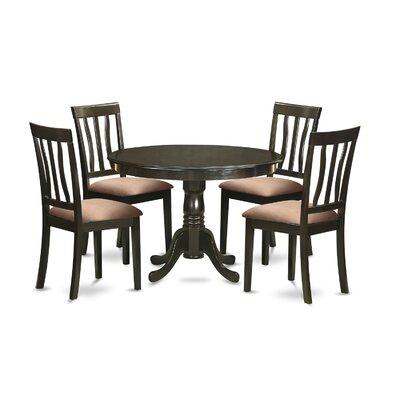 Bonenfant 5 Piece Dining Set Upholstery: Beige Microfiber