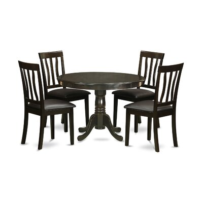 Bonenfant 5 Piece Dining Set Upholstery: Black Faux Leather