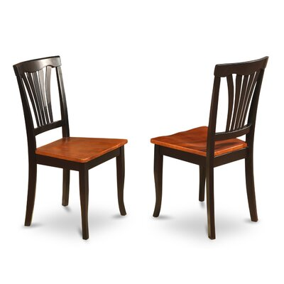 Attamore Solid Wood Dining Chair (Set of 2) Finish: Black and Cherry