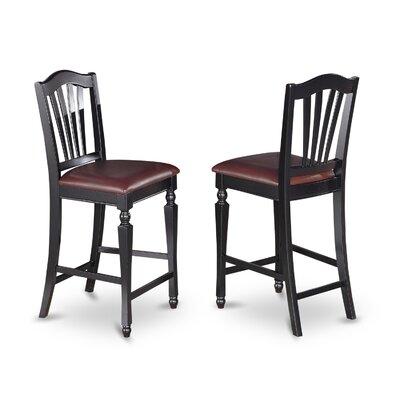 Ashworth 24 Bar Stool (Set of 2) Bar Stool Finish: Black and Cherry, Bar Stool Upholstery: Microfiber