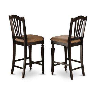 Ashworth 24 inch Bar Stool (Set of 2) Bar Stool Finish: Black and Cherry, Bar Stool Upholstery: Microfiber