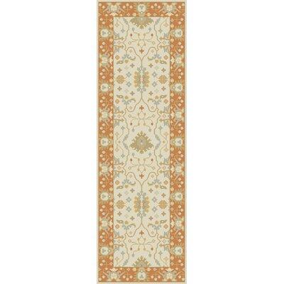 Barkbridge Beige/Tangerine Oriental Rug Rug Size: Runner 26 x 8