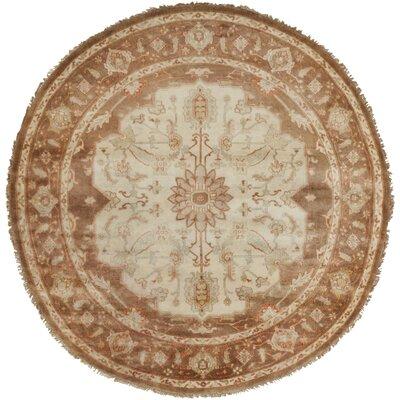 Bargamin Oriental Beige/Taupe Area Rug Rug Size: Round 8
