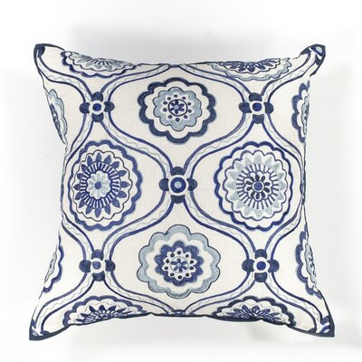 Meriwether Mosaic Cotton Lumbar Pillow Color: Ivory/Blue