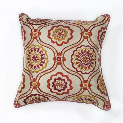 Meriwether Mosaic Cotton Lumbar Pillow Color: Ivory/Red