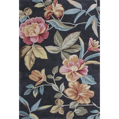 Lyman Charcoal Floral Area Rug Rug Size: Rectangle 33 x 53