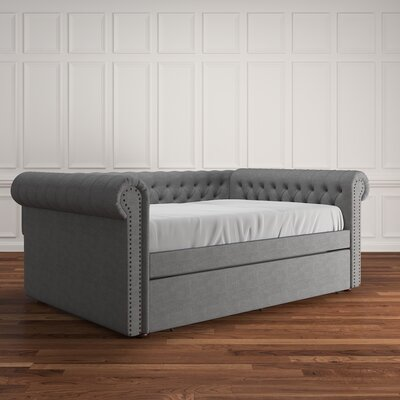 Gowans Button Tufted Linen Daybed Color: Gray, Size: Queen