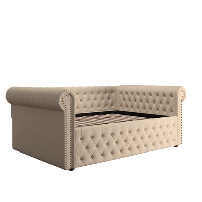 Gowans Wood Button Tufted Linen Daybed Color: Beige