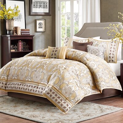 Stoneham 7 Piece Comforter Set Size: King, Color: Gold
