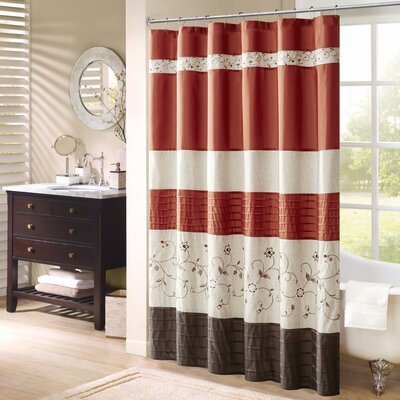 Willshire Shower Curtain Color: Orange, Size: 72 H x 72 W