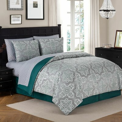 Luella 8 Piece Reversible Bed in a Bag Set Color: Teal, Size: Queen
