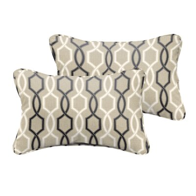Bank Beige Black Indoor/ Outdoor Lumbar Pillow