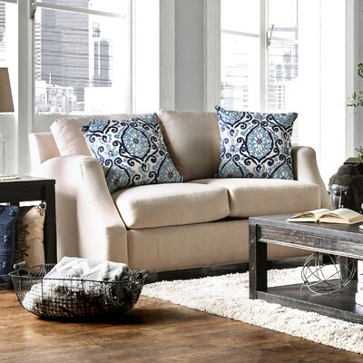Donaldson Contemporary Loveseat Upholstery: Beige / Blue