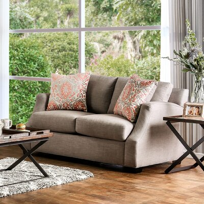 Donaldson Contemporary Loveseat Upholstery: Brown / Orange