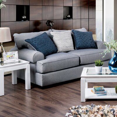 Douglasland Transitional Loveseat Upholstery: Gray / Blue