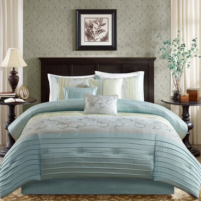 Brierwood 7 Piece Comforter Set Size: King, Color: Aqua