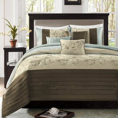 Brierwood 7 Piece Comforter Set Size: Queen, Color: Blue