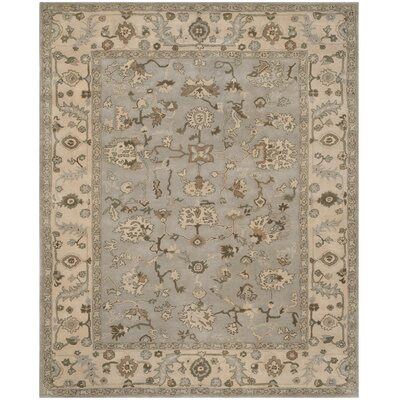 Meriden Hand-Woven Wool Beige/Grey Area Rug Rug Size: Rectangle 8 x 10
