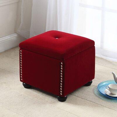 Aubina Storage Ottoman Upholstery: Red