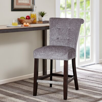 Olivier 24.5 Bar Stool Upholstery: Grey