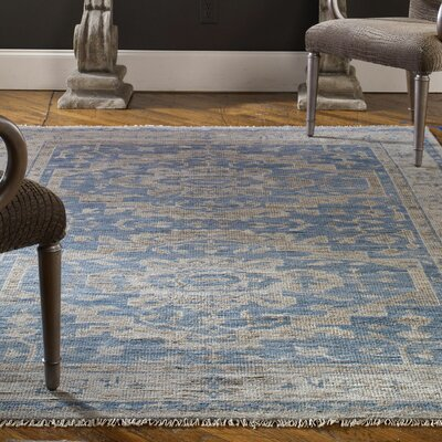 Rocha Hand-Knotted Blue/Gray Wool Area Rug
