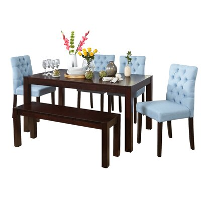 Gardners 6 Piece Dining Set Upholstery Color: Aqua Blue