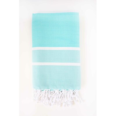Sumner Stripe Bath Towel Color: Aqua/White