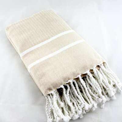 Sumner Stripe Bath Towel Color: Beige/White