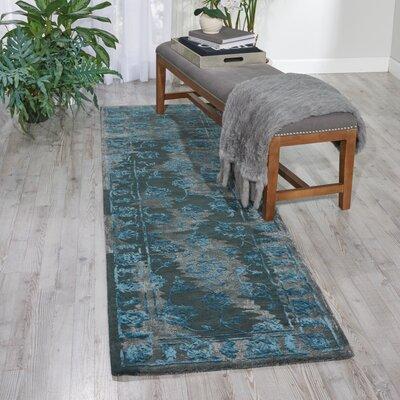 Hadley Hand-Woven Charcoal/Blue Area Rug Rug Size: 23 x 8