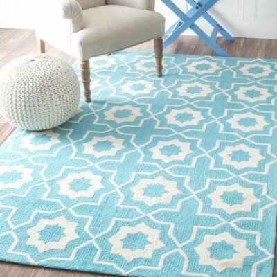 Lester Super Bold Hand-Hooked Light Turquoise/White Area Rug Rug Size: Rectangle 76 x 96