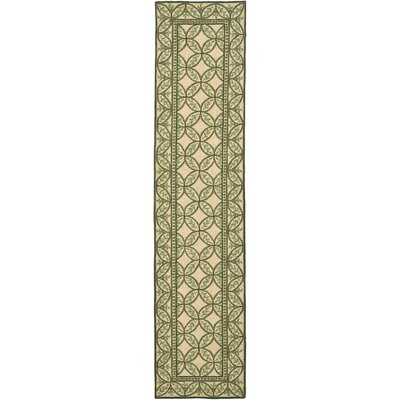 Flythe Wilton Taupe/ Green Area Rug Rug Size: Runner 23 x 10