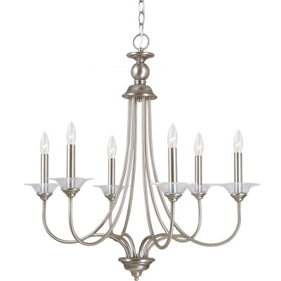 Weatherly 6-Light Candle-Style Chandelier Finish: Antique Brushed Nickel with Clear Glass Bobeches