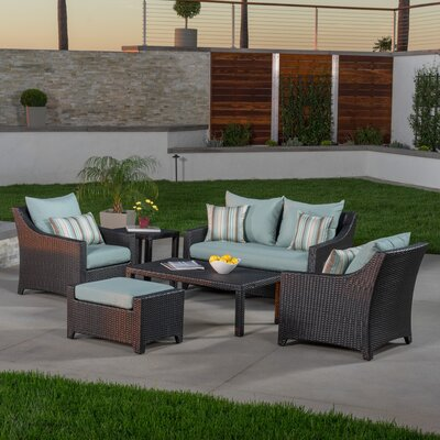 Northridge 6 Piece Deep Seating Group with Cushions Fabric: Bliss Blue