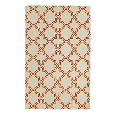 Frederica Ivory/Orange Area Rug Rug Size: 96 x 136