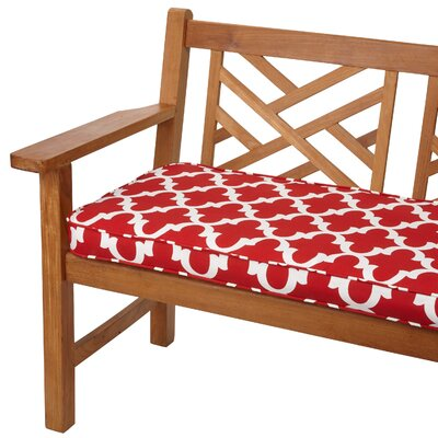 Stylish  Bench Cushion Size: 48 W x 19 D, Fabric: Scalloped Red