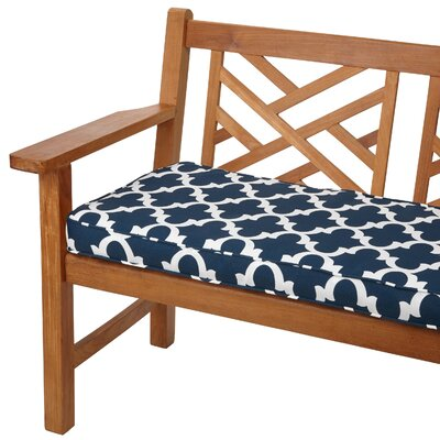 Stylish  Bench Cushion Size: 48 W x 19 D, Fabric: Scalloped Navy