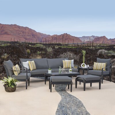 Portsmouth 7 Piece Deep Seating Group with Cushion Fabric: Charcoal Grey