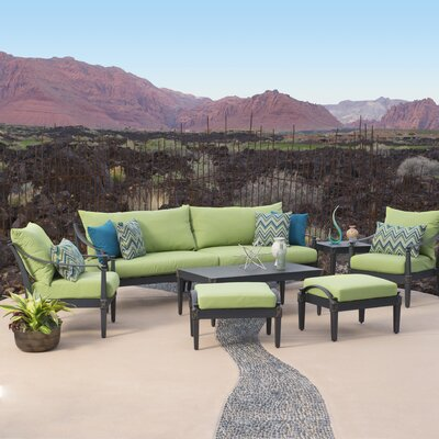 Portsmouth 7 Piece Deep Seating Group with Cushion Fabric: Ginkgo Green
