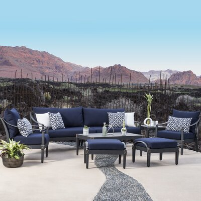 Portsmouth 7 Piece Deep Seating Group with Cushion Fabric: Navy
